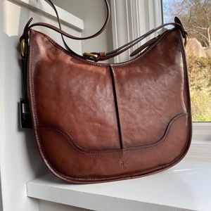 Frye Lucy Saddle Cross Body Bag Brown Leather NEW
